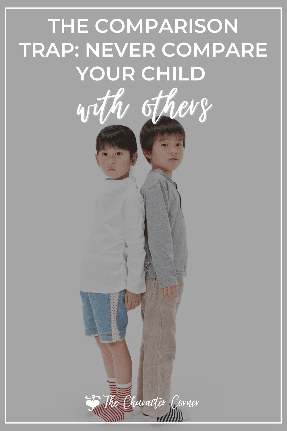 text on image reads Never compare your child to others