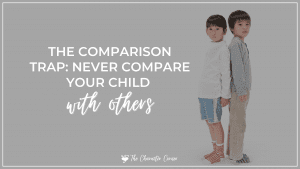 young boy and girl comparing to each other text on image reads Never compare your child to others
