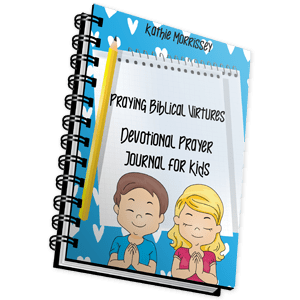 Boy and girl praying. Text on image reads Praying Biblical Virtues Devotional Prayer Journal for Kids