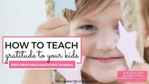 Grateful child smiling on swing Text on image reads: How To Teach Gratitude To Kids {free Printable Gratitude Journal}