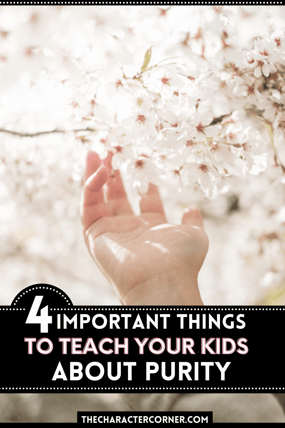 hand open reaching for pink flower. Text on image reads 4 important things to teach your kids about purity.