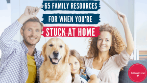 Family inside with dog 65 Family Resources for when you're stuck inside