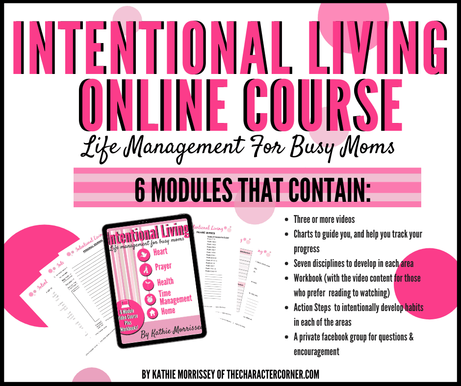 Text on image reads intentional living online course