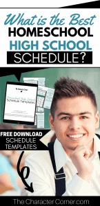 High School Boy What is the Best Homeschool High School Schedule plus Free Schedule Templates