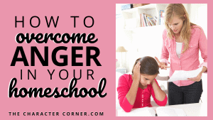 A frustrated mom with daughter who has books open. How to Overcome Anger in Your Homeschool