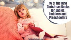 Toddler reading Christmas books