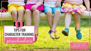 pre k kids sitting on bench hanging out text on image reads 9 Tips For Character Training In Preschoolers