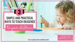 Young child learning to write text on image reads: Child learning text on image reads: Simple and Practical Ways to Teach Diligence to your children