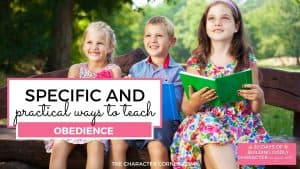 happy children reading books on bench text reads Specific and Practical Ways to Teach Obedience