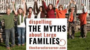 happy together large family text on image reads dispelling the myths of a large family