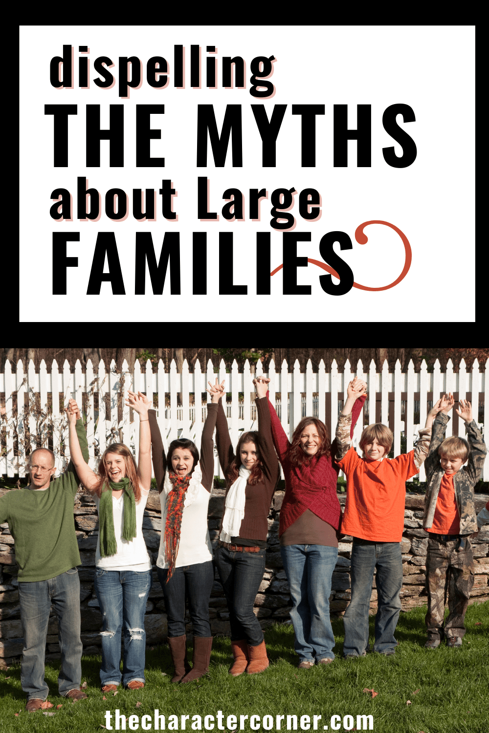 Large family outside together in a line text on image reads dispelling the myths about large families the character corner.com