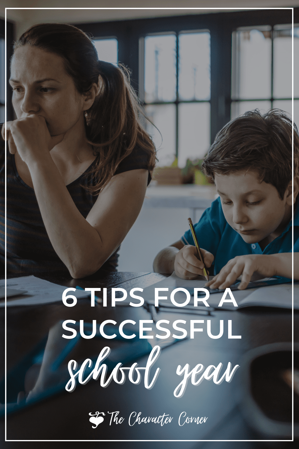 Mom and homeschooling son text on image reads 6 Tips for a Successful School Year