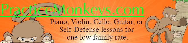 Monkey hanging out text on image reads Practice Monkeys music classes